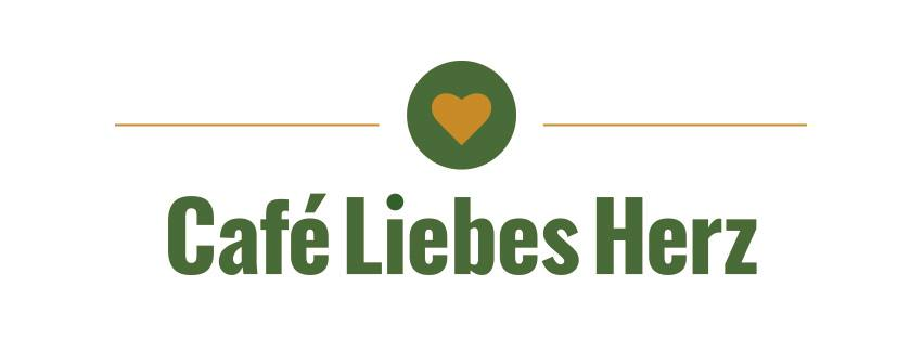 Logo des Café Liebes Herz - grüne Schrift und gelbes Herz auf grünem Hintergrund