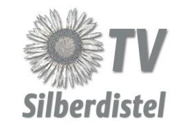 """Abbildung einer silbernen Distel mit dem Schriftzug """"Silberdistel TV"""""""