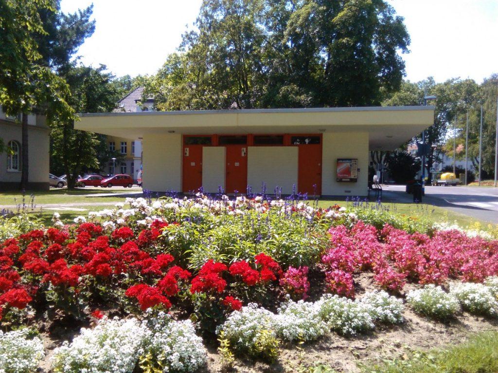 Zu sehen ist ein kleines Gebäude mit Türen zu zwei öffentlichen Toiletten. Im Vordergrund des Bildes sind bunte Blumen abgebildet.