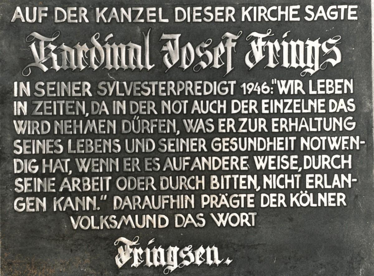 Gedenktafel zur Predigt von Kardinal Frings (Foto: Sammlung Brokmeier)