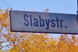 Straßenschild der Slabystraße (Foto: U.Sommer)