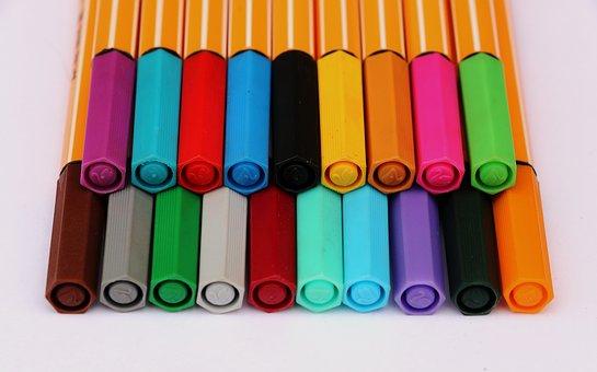 Filzstiftflecken, Sammlung bunter Stifte (pixabay)