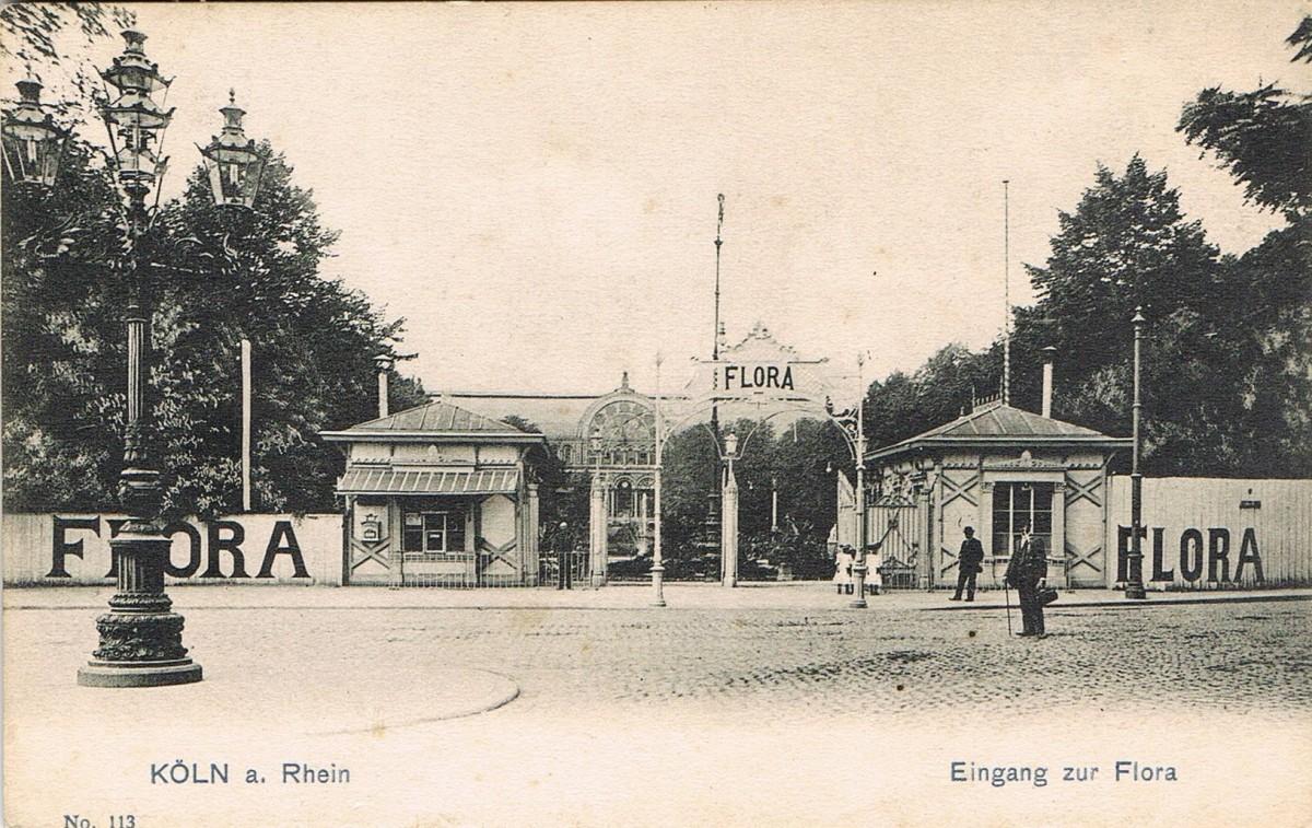 Historische Aufnahme des Eingangs der Flora