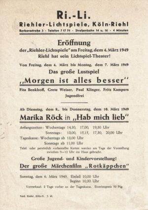 Flyer zur Eröffnung 1949