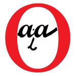 zwei kleine schwarze aa ein i in einem roten O