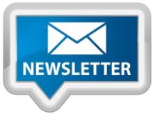 Weisser Briefumschlag auf blauem Grund und in grossen Buchstaben NEWSLETTER